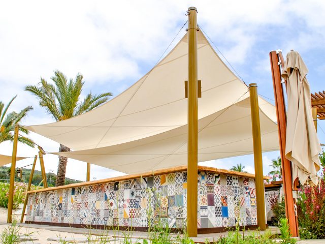 sun sail in beach bar La Reserva Beach Sotogrande